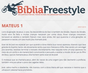 Print do site onde está sendo escrita a Bíblia.