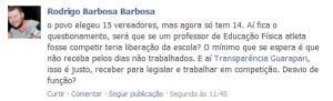 Barbosa, criticou viagem de vereadora.