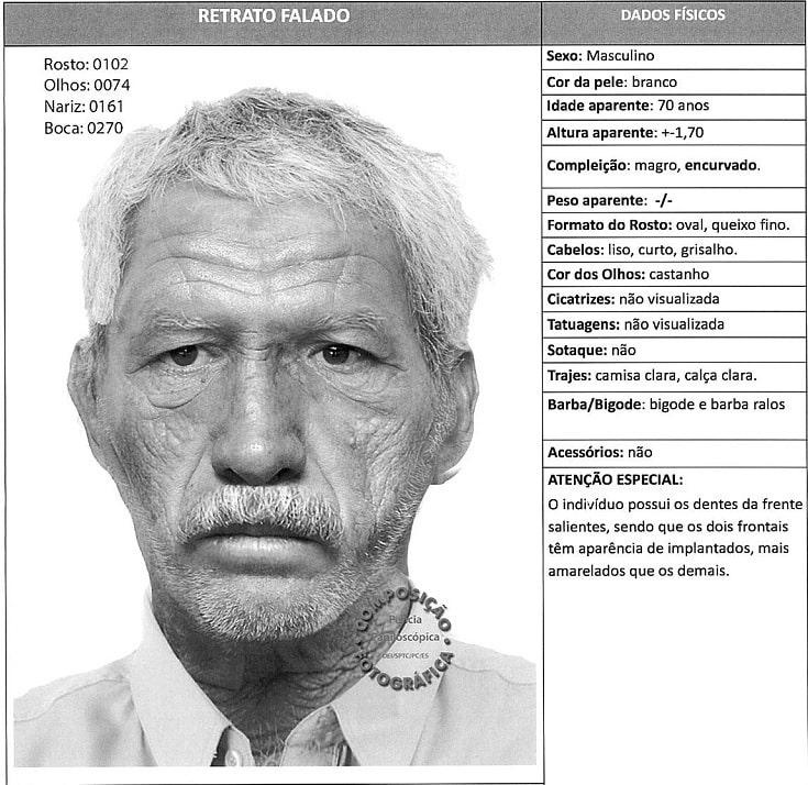 Retrato falado do suspeito. Foto: PCES.