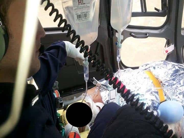 José foi levado de helicóptero até o HPM. Foto: Divulgação.