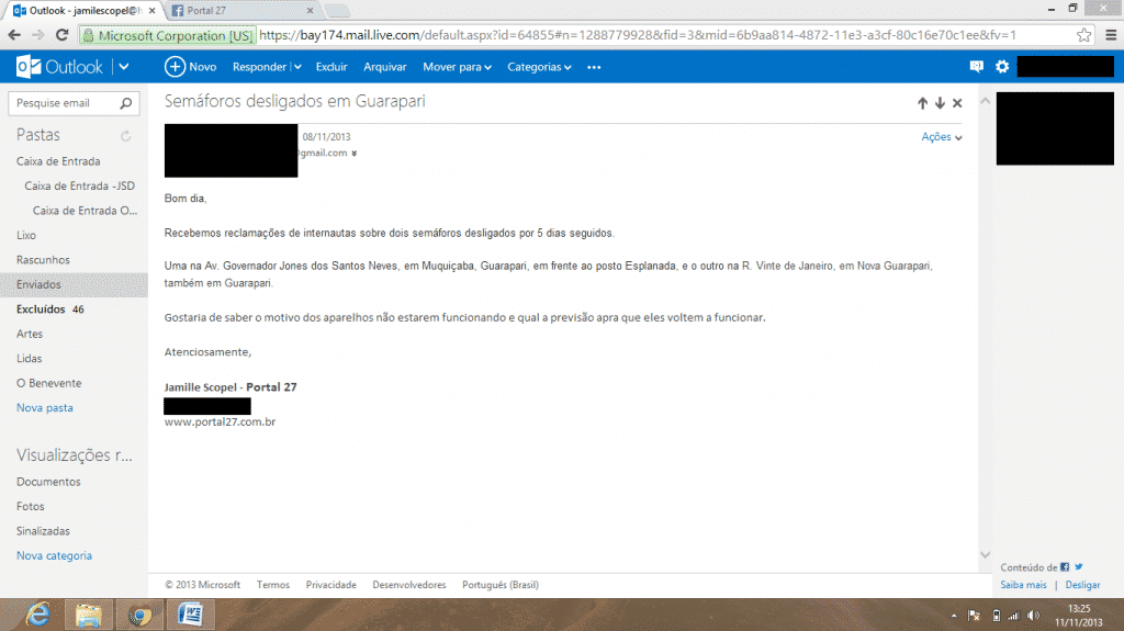 E-mail questionando o não funcionamento dos semáforos enviado no dia 08.