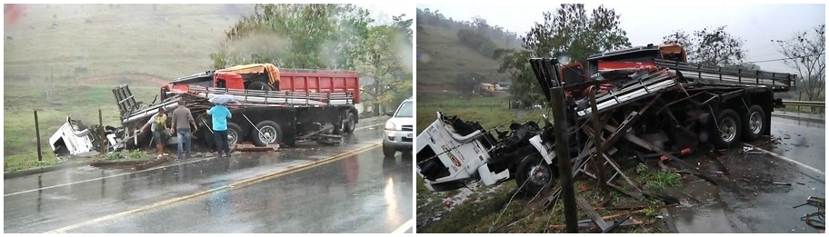 Estava chovendo na hora do acidente, o que dificulta a direção dos motoristas na Br