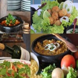 Os pratos variam de comida Japonesa à Indiana.