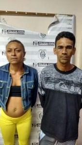 Osvaldo Alves Neto e Danieli Glória Bernardo foram presos em flagrante. Foto: divulgação.