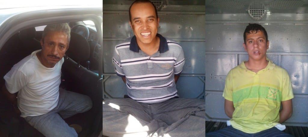 Nilton, Nilton Junior e Humberto foram presos em flagrante. Foto: Reprodução
