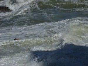 Guarda-vidas se esforça para sair do mar durante resgate. Foto: João Thomazelli/Portal 27